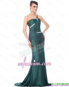 2015 Sexy One Shoulde Prom Dress with Ruching and Brush Train