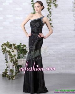 Sexy 2015 One Shoulder Black Prom Dress with Beading