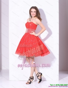 Sexy 2015 Sweetheart Beading Mini Length Prom Dress in Red