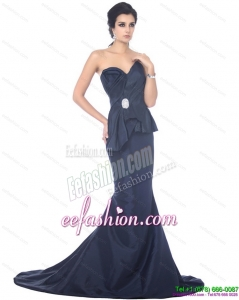 Sexy Brush Train Sweetheart Beading Prom Dress in Navy Blue