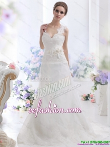 2015 Amazing A Line Wedding Dress with Lace and Hand Made Flowers