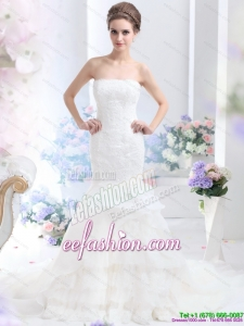 2015 Amazing Strapless Wedding Dress with Brush Train