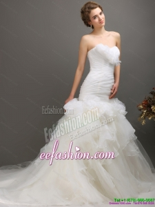 2015 Amazing Sweetheart Wedding Dress with Ruching and Ruffles