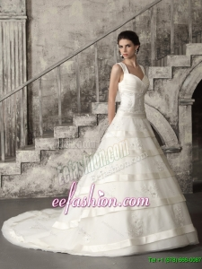 2015 Beaded Brush Train Ruched Wedding Dresses in White