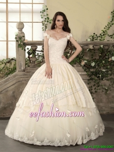 2015 Classic Off The Shoulder Lace Wedding Dress with Floor Length