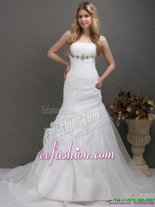 2015 Classic Strapless Wedding Dress with Ruching and Paillette