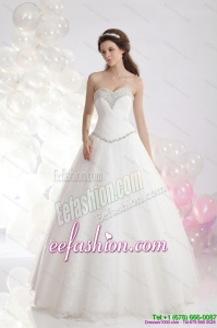2015 Classic Sweetheart A Line Wedding Dress with Beadings