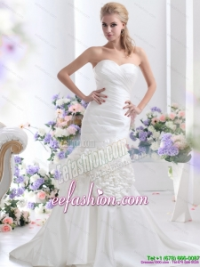 2015 Classic Sweetheart Wedding Dress with Ruching