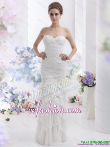 2015 Classic Sweetheart Wedding Dress with Ruching and Ruffled Layers