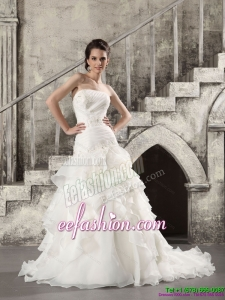 2015 Classic White Strapless Bridal Gowns with Brush Train and Ruffles