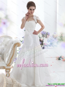 2015 White Sweetheart Brush Train Wedding Dresses with Hand Made Flower and Ruffles