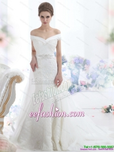 Amazing 2015 The Super Hot Off the Shoulder Beading Wedding Dress