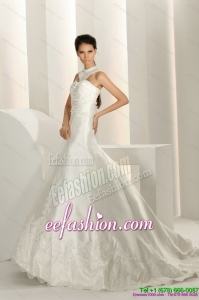 Amazing Beading White Wedding Dresses with Brush Train and Lace