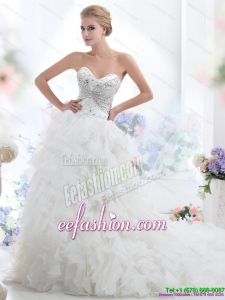 Amazing Sweetheart 2015 White Wedding Dresses with Rhinestones and Ruffles