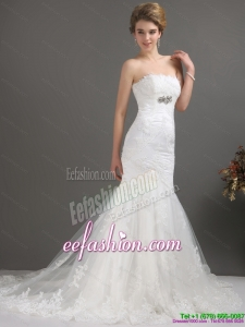 Amazing White Strapless Lace Wedding Dresses with Beading and Brush Train