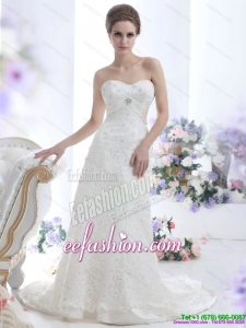 Amazing White Sweetheart Beading Wedding Dresses with Brush Train