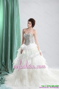 Amazing White Sweetheart Rhinestones Wedding Dresses with Chapel Train and Ruffles