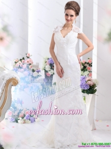 Amazing White V Neck Lace 2015 Wedding Dresses with Brush Train