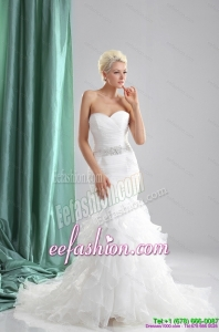Classic 2015 Popular Ruffles White Sweetheart Wedding Dresses with Sequins
