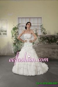 Classic 2015 Strapless White Bridal Gowns with Ruffled Layers and Court Train