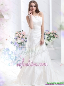 Classic Pleated One Shoulder White Wedding Dresses with Brush Train