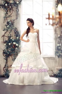 Classic Popular Sweetheart White Bridal Gowns with Chapel Train