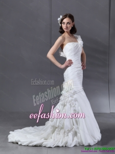 Classic Ruching One Shoulder White Bridal Gowns with Hand Made Flower