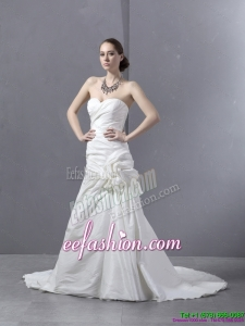 Classic Ruffled Sweetheart Ruched White Wedding Dresses with Brush Train