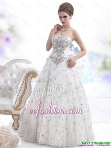 Classic Strapless Bownot White Wedding Dresses with Rhinestones