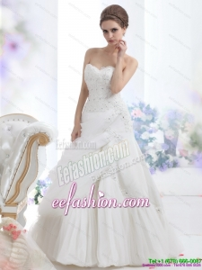 Classic Strapless Ruffles and Beading White Bridal Gowns for 2015