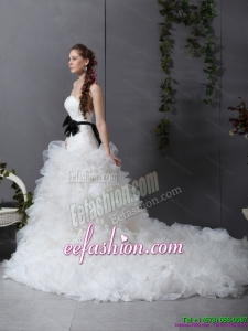 Classic White Chapel Train Ruffled Wedding Dresses with Black Waistband