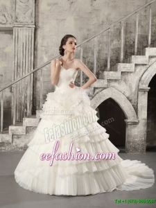 Classic White One Shoulder Chapel Train Wedding Dresses with Ruffled Layers