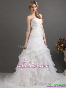 Classic White Strapless Pleated Wedding Dresses with Ruffled Layers