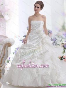 Classic White Strapless Ruffles Bridal Gowns with Chapel Train and Hand Made Flower