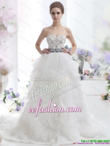 Classic White Sweetheart Brush Train Wedding Dresses with Rhinestones and Sash