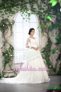 Classic White V Neck Lace Wedding Dresses with Brush Train and Beading