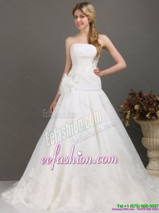 Ruched Beaded White Classic Wedding Dresses with Brush Train and Hand Made Flower
