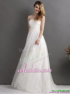 2015 Beautiful Strapless Wedding Dress with Beading and Appliques