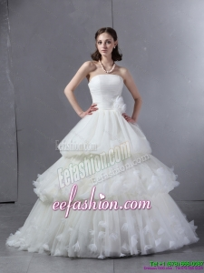 2015 Classical Strapless Beach Wedding Dress with Ruffles and Ruching