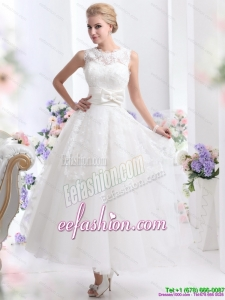 2015 Cute Scoop Ankle-length Beach Wedding Dresses with Lace and Bowknot