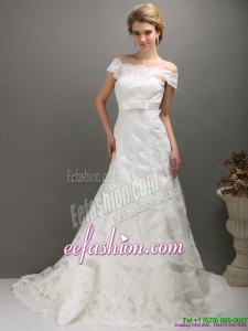 2015 Designer Off the Shoulder Wedding Dress with Bowknot