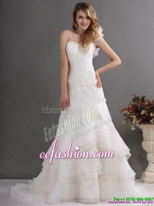 2015 Designer One Shoulder Wedding Dress with Lace