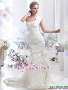 2015 Designer Strapless Lace White Wedding Mermaid Dress