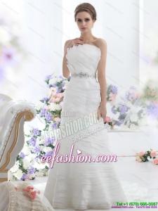 2015 Elegant Strapless Wedding Dress with Beading and Ruching