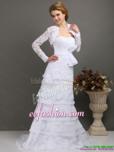 2015 Elegant Sweetheart Gorgeous Wedding Dress with Lace and Bowknot