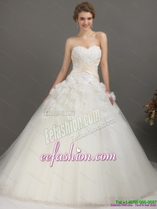 2015 Elegant Sweetheart Wedding Dress with Appliques