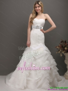 2015 Fashionable Sweetheart Wedding Dress with Lace and Appliques