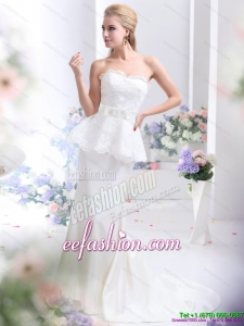 2015 Feminine Sweetheart Gorgeous Wedding Dress with Lace and Bowknot