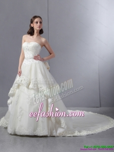 2015 Laced Beaded White Wedding Dresses with Chapel Train