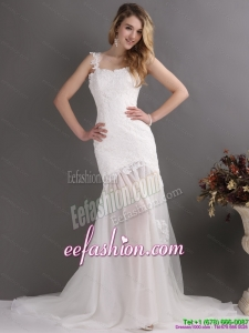 2015 Laced White One Shoulder Wedding Dresses with Chapel Train